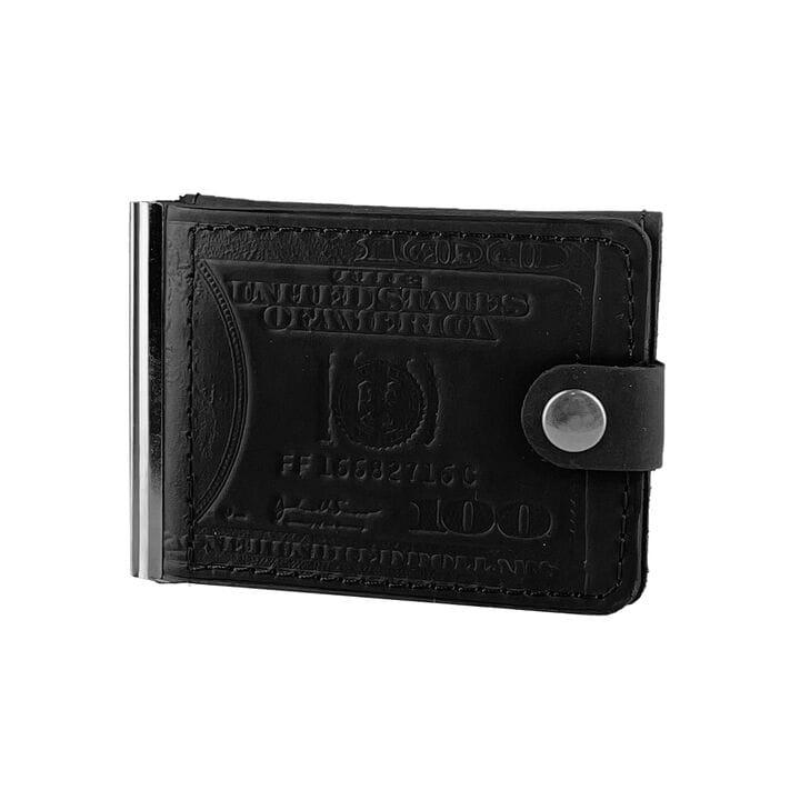 Кожаный мужской кошелек ручной работы U-fas (rr2667/1) Черный
