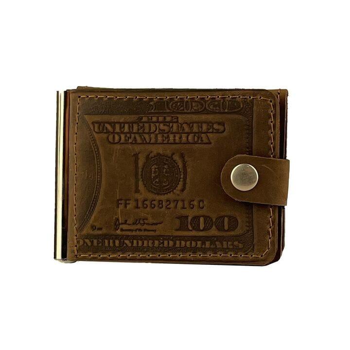 Кожаный мужской кошелек ручной работы U-fas (rr2667/2) Коричневый