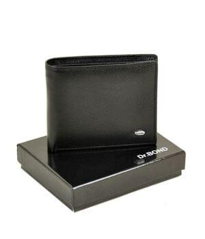 Мужской кожаный кошелек Dr.BOND 11 x 9,5 x 2,5 см Черный (msm-3)