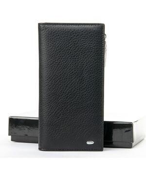 Мужской кожаный кошелек Dr.BOND 10 x 19 x 3 см Черный (wmb-3m)