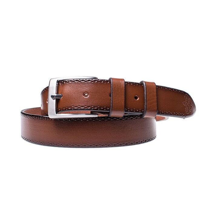 Кожаный ремень для мужчин JK ширина 3.5 см Светло-коричневый (MC352047101)