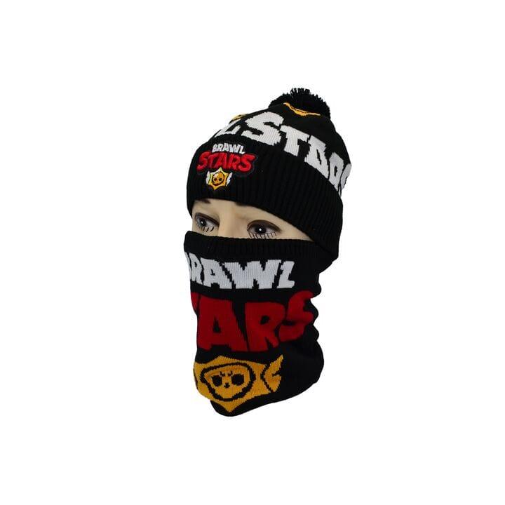 Комплект Flexfit шапка з помпоном и снуд Brawl Stars Чёрный (F-0918-432)