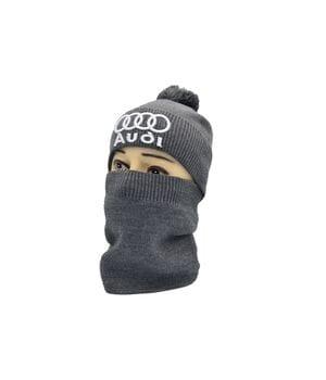 Комплект Flexfit шапка з помпоном и снуд Аudi 53-57 см темно-серая (F-0918-605)