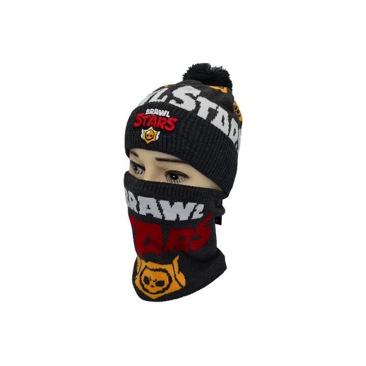 Комплект Flexfit шапка з помпоном и снуд Brawl Stars Темно-серый (F-0918-434)
