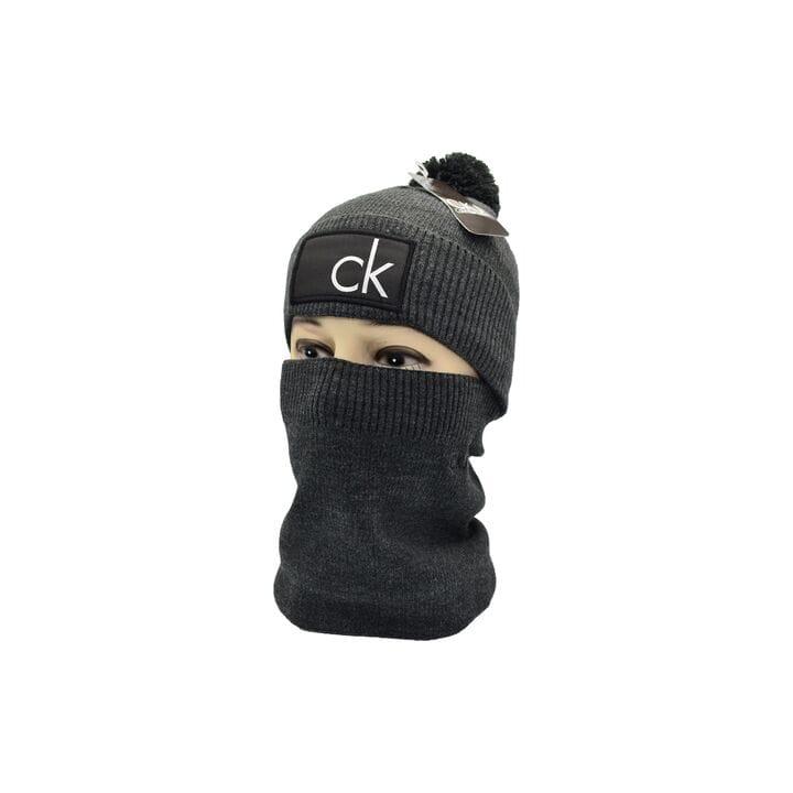 Комплект Flexfit шапка з помпоном и снуд Calvin Klein Темно-серый (F-0918-110)