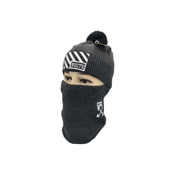 Комплект Flexfit шапка з помпоном и снуд Off-White Темно-серый (F-0918-120)
