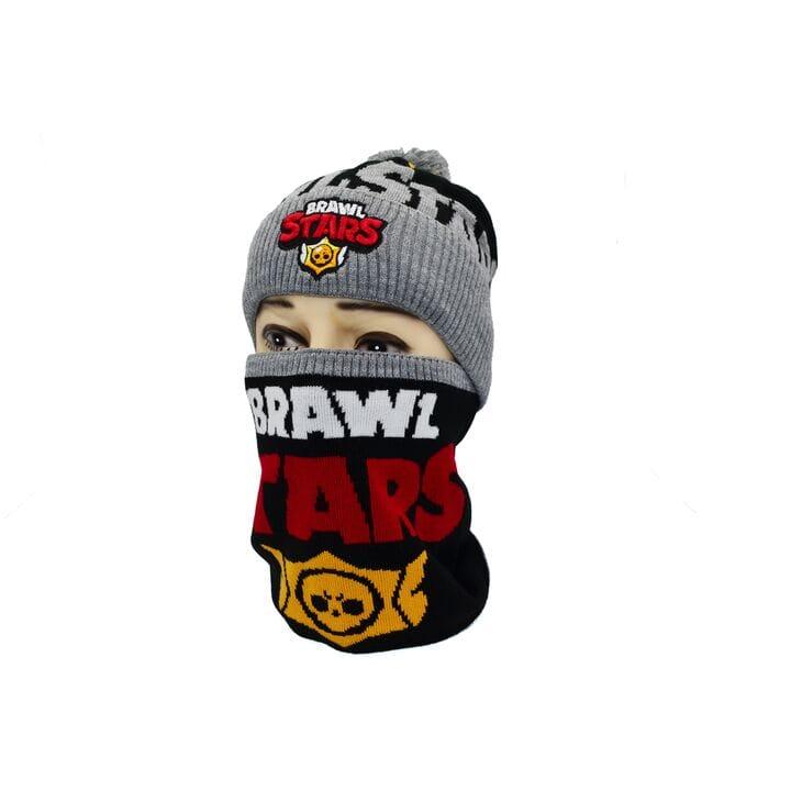 Комплект Flexfit шапка з помпоном и снуд Brawl Stars Светло-серый (F-0918-435)