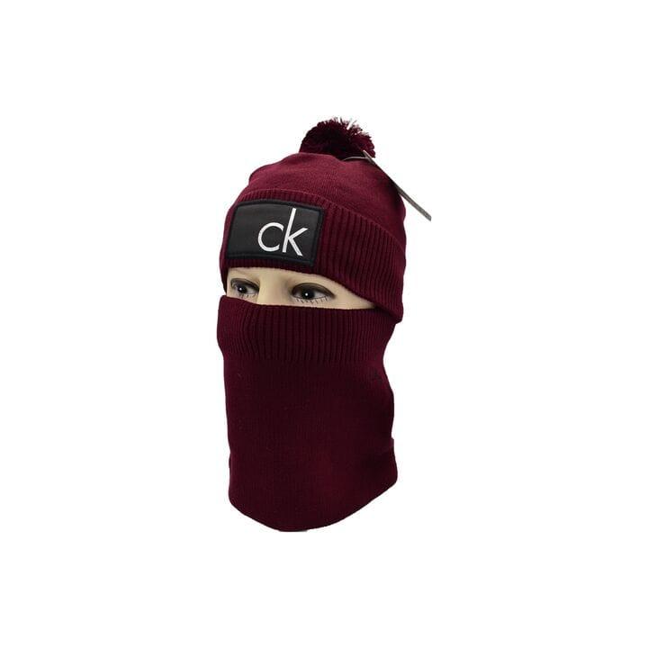 Комплект Flexfit шапка з помпоном и снуд Calvin Klein Бордовый (F-0918-111)