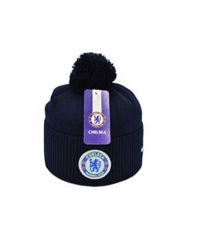 Шапка з помпоном Flexfit FC Chelsea 53-57 см Тёмно-синяя (F-0918-146)