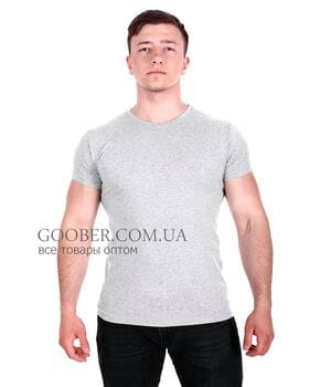 Мужская однотонная футболка Belmode серая (f216/2)
