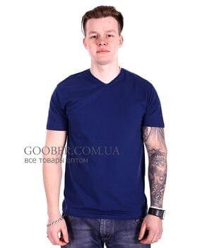 Мужская однотонная футболка 44/2 Mastif темно-синий
