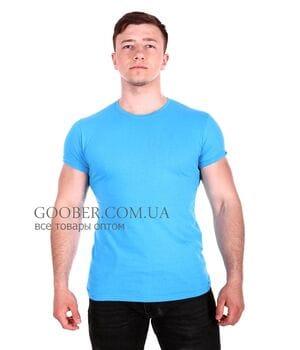 Мужская однотонная футболка Belmode голубая (f216/4)