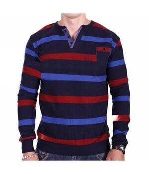 Мужской свитер в полоску Mastiff k0318/2 Темно-синий