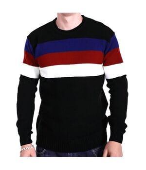 Мужской свитер в полоску YBM wear k0418/1 Черный