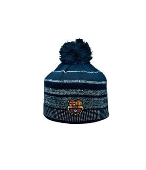 Шапка з помпоном ZH Barselona Madrid 56-58 см Темно-синяя (ZH 1018-1)