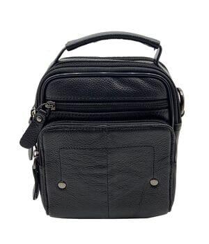 Кожаная мужская сумка Gorangd 15 x 18 x 7,5см Черный (g905-1)