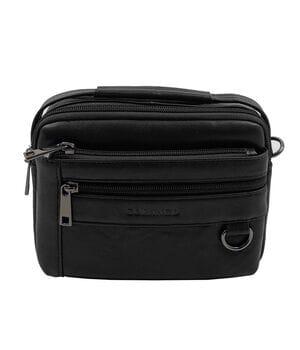 Кожаная мужская сумка Gorangd 19 x 14,5 x 8см Черный (g9393)