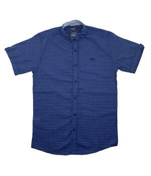 Рубашка с коротким рукавом Ronex Турция kr1008/4 Синяя