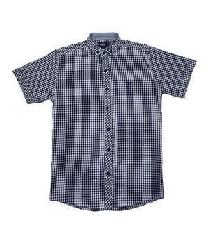 Рубашка с коротким рукавом Ronex Турция kr1008/5 Черная с белым
