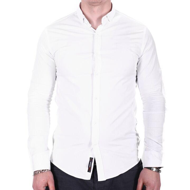 Мужская однотонная рубашка o02182 белая