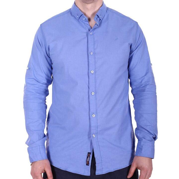 Мужская однотонная рубашка o0218 синяя