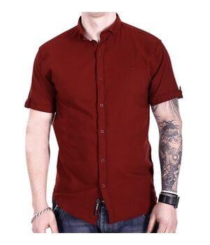Однотонная рубашка с коротким рукавом Ronex s1018/1 Бордовая