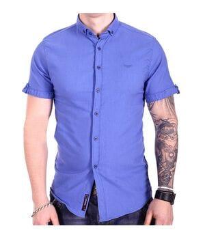Однотонная рубашка с коротким рукавом Ronex s1018/6 Голубая