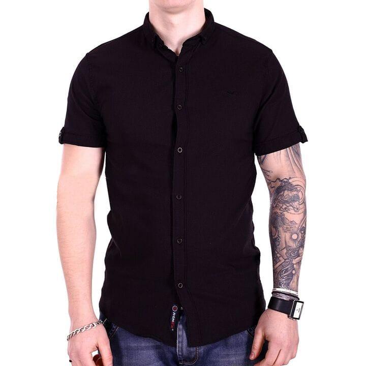 Однотонная рубашка с коротким рукавом Ronex s1018/4 Черная