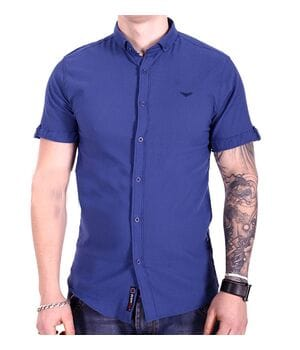 Однотонная рубашка с коротким рукавом Ronex s1018/3 Синяя