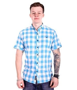 Рубашка с коротким рукавом Rigans Турция s1017/3 Бирюзовая