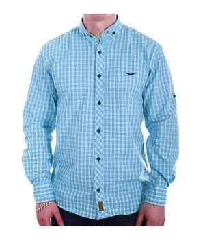 Мужская рубашка в клетку Ronex Турция s1418/1 Голубая
