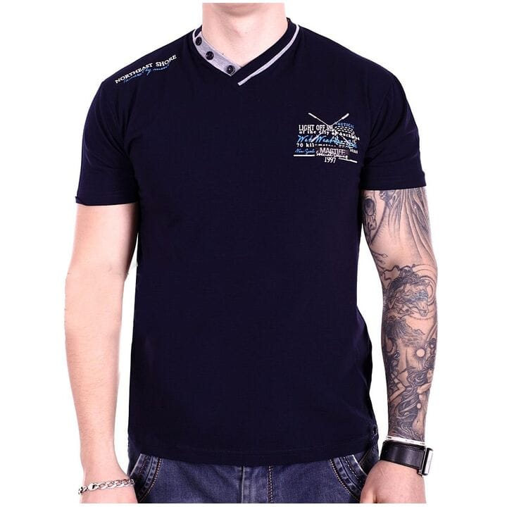 Мужская футболка Mastiff  Турция f1918/5 Темно-синяя