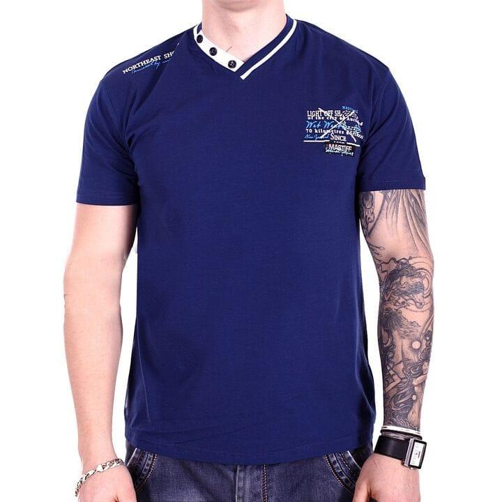 Мужская футболка Mastiff  Турция f1918/6 Темно-синяя